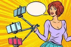 Selfie棍子妇女 向量例证