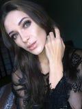 Selfie美丽的年轻亭亭玉立的女孩 免版税图库摄影