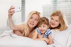 Selfie à la maison Photographie stock