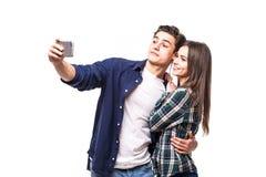 Selfie взятия пар на белизне Стоковое Изображение