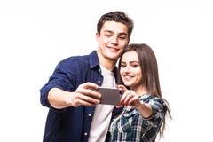 Selfie взятия пар на белизне Стоковое Фото