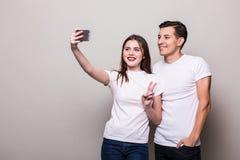 Selfie взятия пар Стоковые Изображения