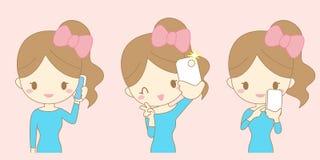 Selfie взятия улыбки женщины шаржа Стоковая Фотография RF