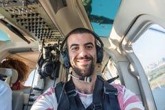 Selfie в вертолете стоковое фото rf