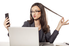 Selfie в офисе Стоковое Изображение