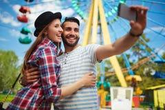Selfie в парке Стоковое Изображение RF