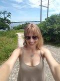Selfie на реке Миссисипи Стоковые Фото