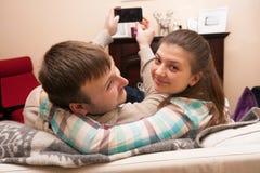 Selfie семья Стоковые Фото