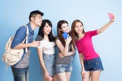 Selfie студента счастливо стоковое изображение rf