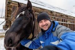 Selfie с лошадью Стоковое фото RF