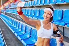 Selfie of active girl Stock Images