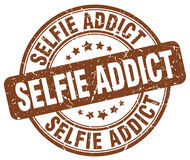 Selfie addict brown stamp Royalty Free Stock Photos