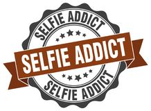Selfie addict seal. Selfie addict round ribbon seal isolated on white background Stock Photos