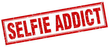 Selfie addict square stamp Royalty Free Stock Image