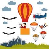 Selfie air balloon flat design illustration. Extreme selfie air balloon flat design illustration Stock Photography