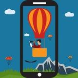 Selfie air balloon flat design illustration. Extreme selfie air balloon flat design illustration Stock Images
