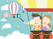 Selfie on air balloons Stock Images