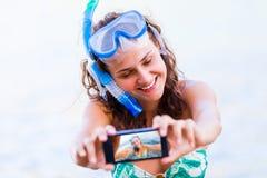 Selfie alvorens te zwemmen Stock Afbeelding