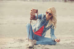 Selfie with analog camera Royalty Free Stock Images