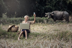 Selfie asiático da mulher fotografia de stock