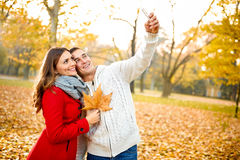 Selfie  in autumn in park Royalty Free Stock Photography