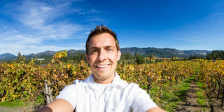 Selfie in an autumn vineyard Stock Image