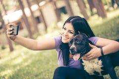 Selfie avec le chien Images libres de droits