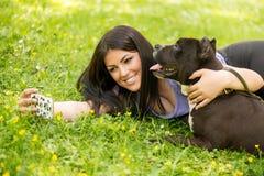Selfie avec le chien Image stock