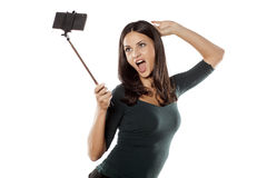 Selfie avec le monopod Photos libres de droits