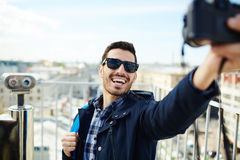 Selfie of backpacker Royalty Free Stock Photography