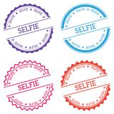 Selfie badge isolated on white background. Flat style round label with text. Circular emblem vector illustration Stock Images