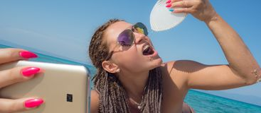 Selfie Beach Woman Drinking Shell Royalty Free Stock Photos