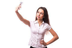 Selfie, Beautiful office girl taken pictures. Of her self Royalty Free Stock Photos