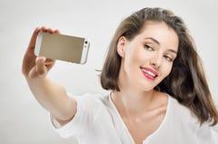 Selfie. A beauty girl taking selfie