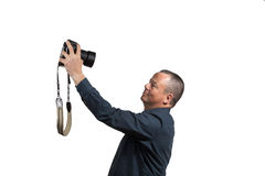 Selfie with big camera Stock Photos