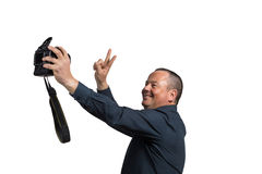 Selfie with big camera Stock Photo