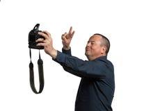 Selfie with big camera Stock Photos