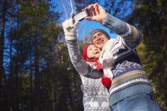 Selfie bij vrije tijd stock foto's