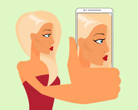 Selfie of blond sensual girl Royalty Free Stock Photography