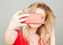 Selfie. Blonde Woman Taking Selfie with Smart Phone Royalty Free Stock Photos
