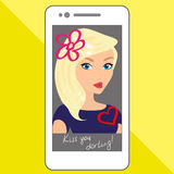 Selfie of blondhair girl with hand drawings Royalty Free Stock Images