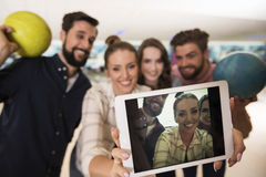 Selfie in the bowling club Stock Photography
