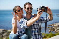 Selfie brać blisko oceanu Fotografia Stock