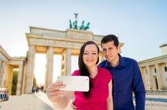 Selfie in brandenburg gate Stock Image