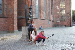 Selfie with the Bremen Town Musicians Stock Photography