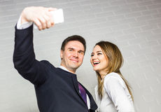 Selfie business team taking pictures in the office Royalty Free Stock Photo