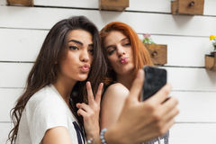 Selfie at the cafe Royalty Free Stock Images