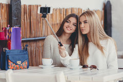 Selfie in a cafe two nice girlfriends. Royalty Free Stock Images