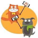 Selfie with cartoon animals .Vector. Monopod Selfie with cartoon animals .Vector Stock Images