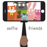 Selfie with cartoon animals .Vector Royalty Free Stock Images